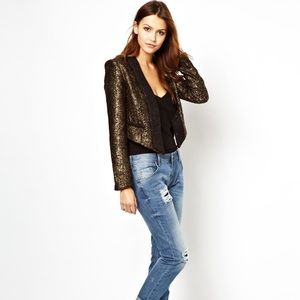 Aryn K cropped metallic blazer